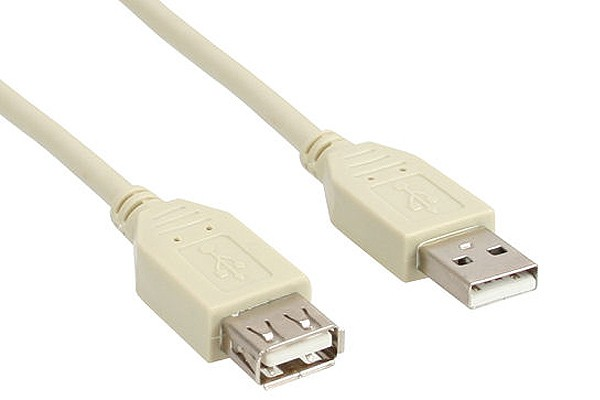InLine® USB 2.0 extension cable, beige, A M/F, 5m