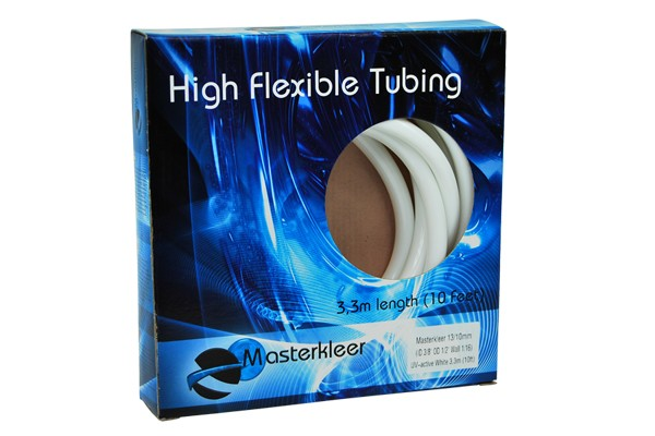 "Masterkleer tubing PVC 13/10mm (3/8""ID) UV-reactive white 3,3m (10ft) ""Retail Package"""