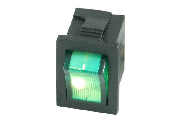 Phobya rectangular toggle switch - green lighting - unipolar ON/OFF black (3-Pin)