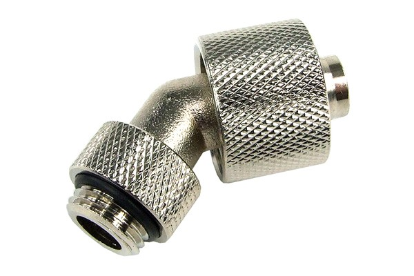 16/10mm compression fitting 45° revolvable G1/4 - knurled - silver nickel