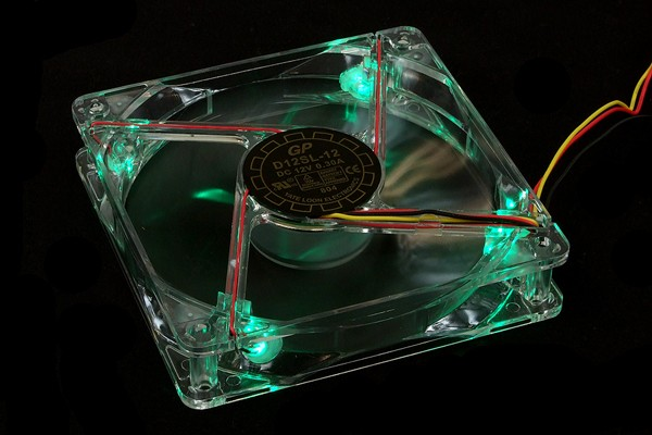Yate Loon D12SL-12+4LED transparent with green LEDs & plug (1350rpm) ( 120x120x25mm )