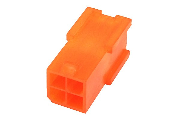 mod/smart ATX Power Connector 4Pin socket - UV-reactive brite orange
