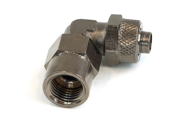 compression fitting inner thread 1/4 to 10/8mm 90° - black nickel