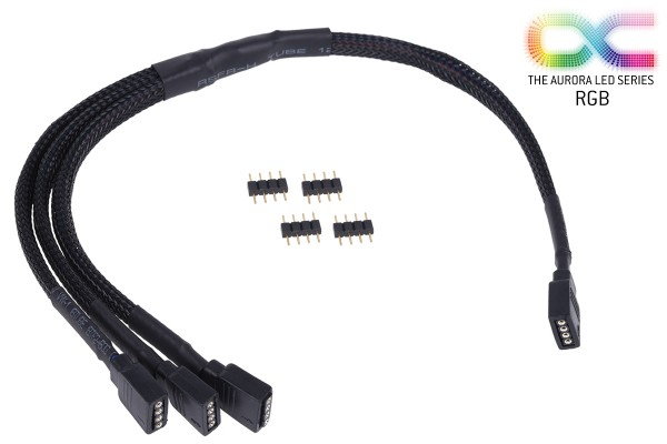 Alphacool y-cable RGB 4pol to 3x 4pol 30cm incl. connector - black